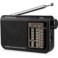Retekess V117 Shortwave Radio Analog Radio Transistor AM FM Portable Radio Support Earphone DSP Operated by 2 AA Battery for Elder (Black)