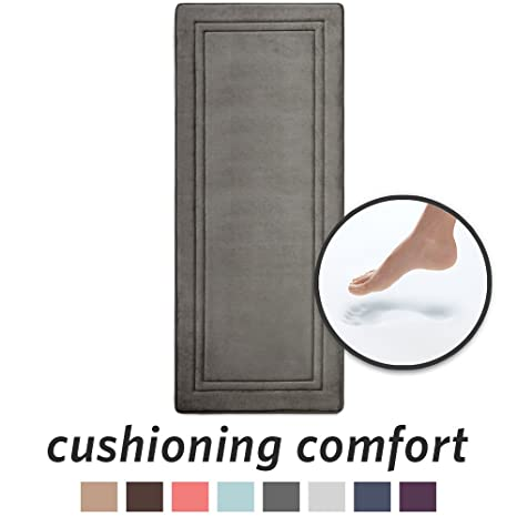 Microdry 10876 Quick Drying Memory Foam Bath Mat Runner With Grip Tex Skid Resistant Base, 24 X 58, Charcoal by Microdry