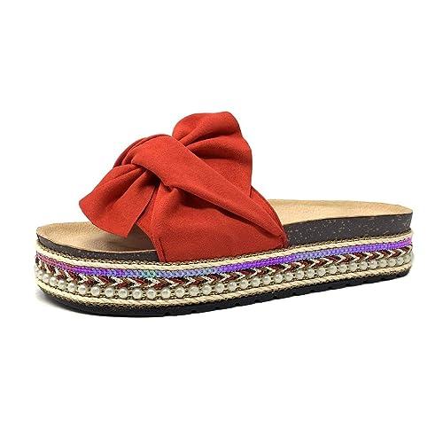 forme élégante sortie d'usine haut de gamme authentique Angkorly - Chaussure Mode Mule Tong Folk/Ethnique Claquette Grosse Semelle  Femme Noeud Perle tressé Talon Plat