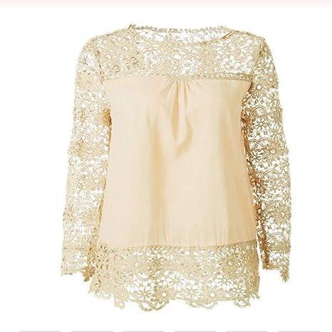 AXPD Camisetas y camisas deportivas Tops Y Camisas para Mujer Camisa De Gasa Top De Encaje De Manga Larga Camisa Blanca De Ganchillo L: Amazon.es: Deportes y aire libre