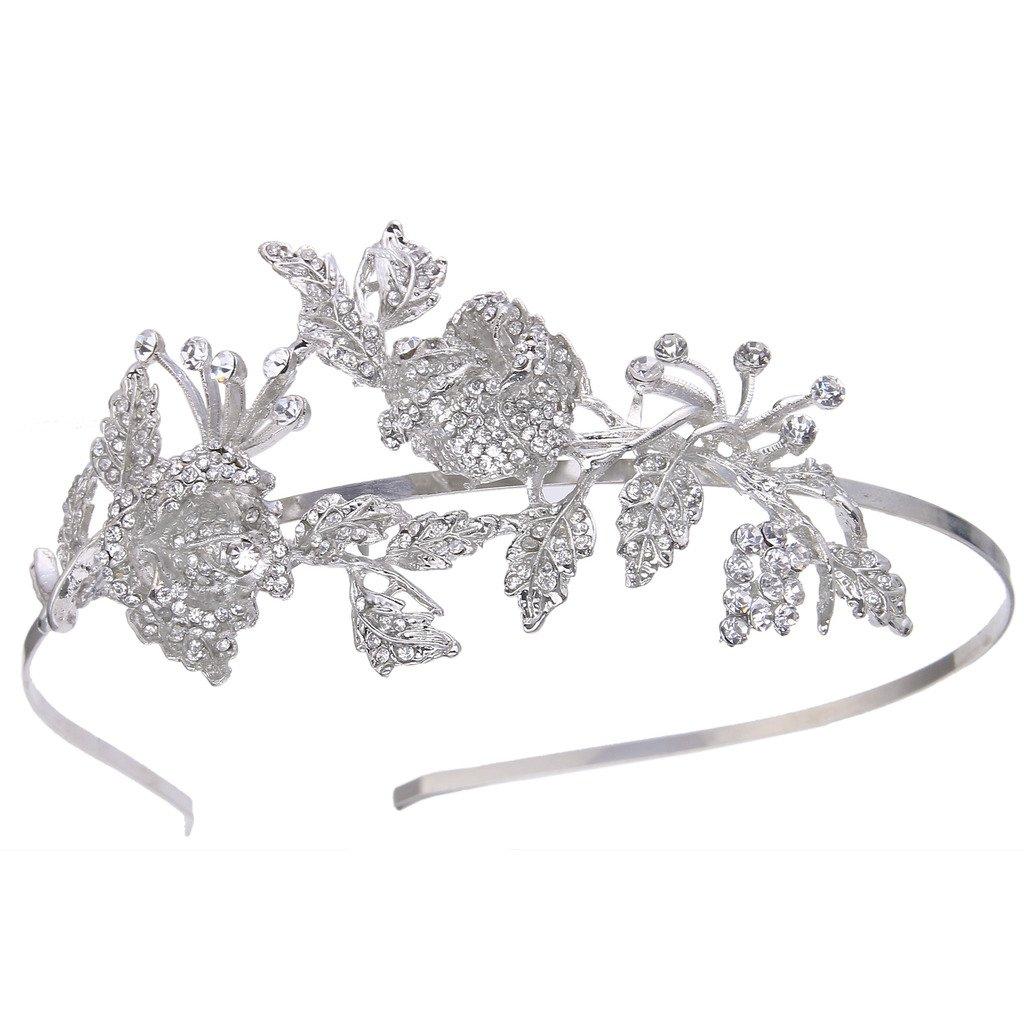 Ever Faith Silver-Tone Austrian Crystal Wedding Double Orchid Flowers Leaf Bridal Head Band Clear A13291-1