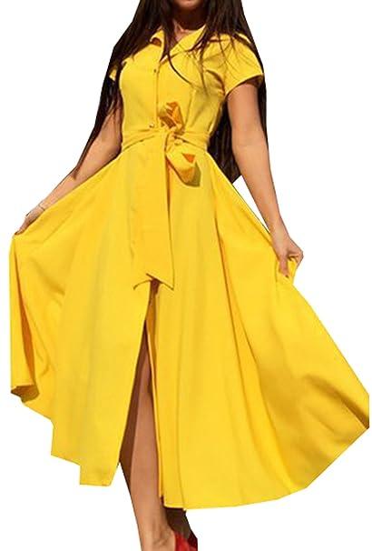 Mujer Verano Camiseta Vestido Bolsillo Manga Corta Casual Loose Camiseta Vestidos de Botón Cinturón Vestido Fiesta de Noche Shirt Dress: Amazon.es: Ropa y ...