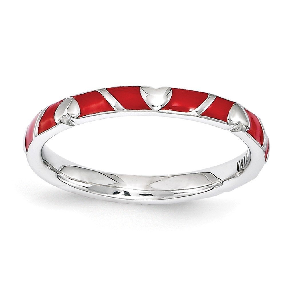 Top 10 Jewelry Gift Sterling Silver Stackable Expressions Red Enamel Heart Ring