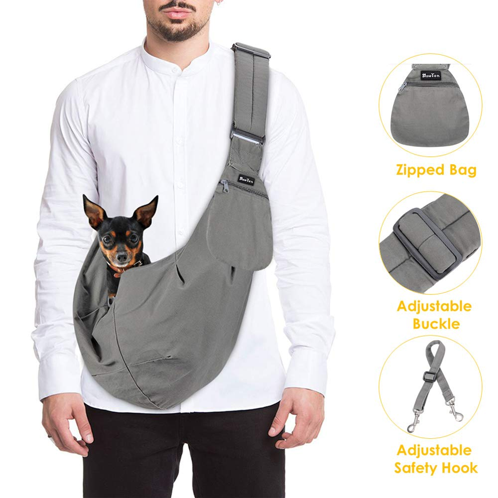 SlowTon Pet Carrier, Hand Free Sling Adjustable Padded Strap Tote Bag Breathable Cotton Shoulder Bag Front Pocket Safety Belt Carrying Small Dog Cat Puppy Up to 16 lbs Machine Washable (Grey) by SlowTon
