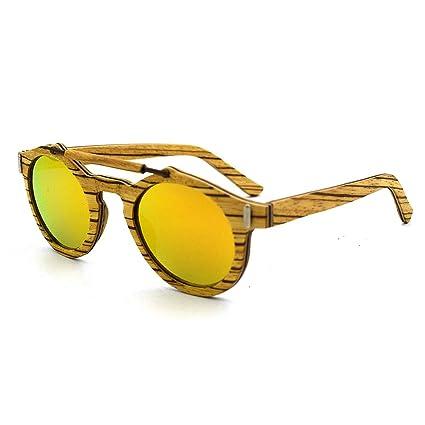 Peggy Gu Tonos de Moda Personalidad Handcraft Unisex-Adulto Gafas de Sol de Madera Lente
