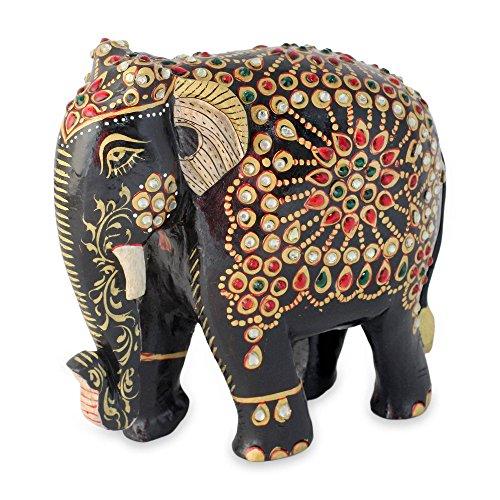 NOVICA 231390 Majestic Elephant III' Wood Statuette