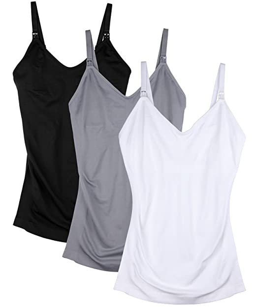 695c6196f6a Daisity Womens Maternity Nursing Tank Cami for Breastfeeding with  Adjustable Straps Pack of 3 Color Black