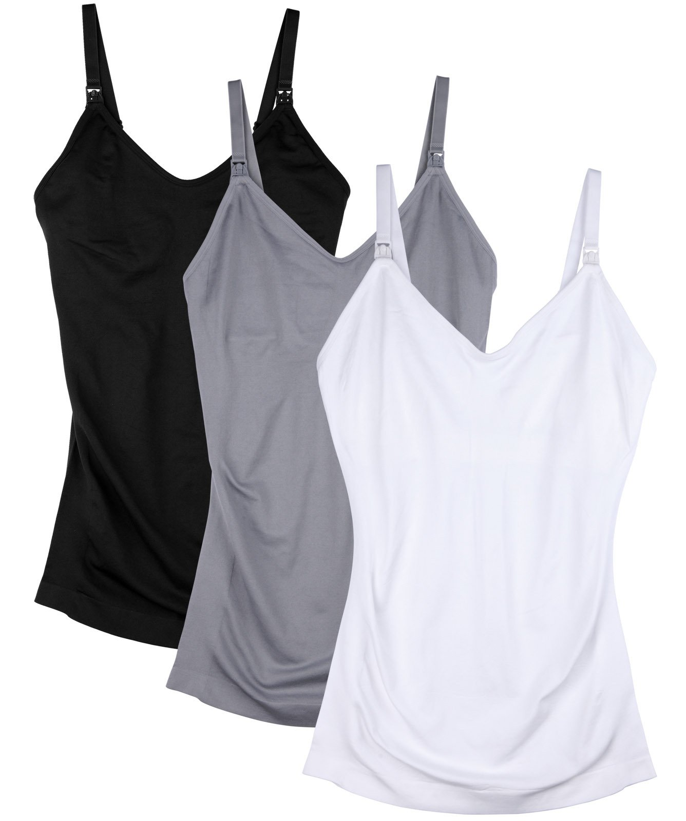 Daisity Womens Maternity Nursing Tank Cami for Breastfeeding with Adjustable Straps Pack of 3 Color Black Grey White Size XL