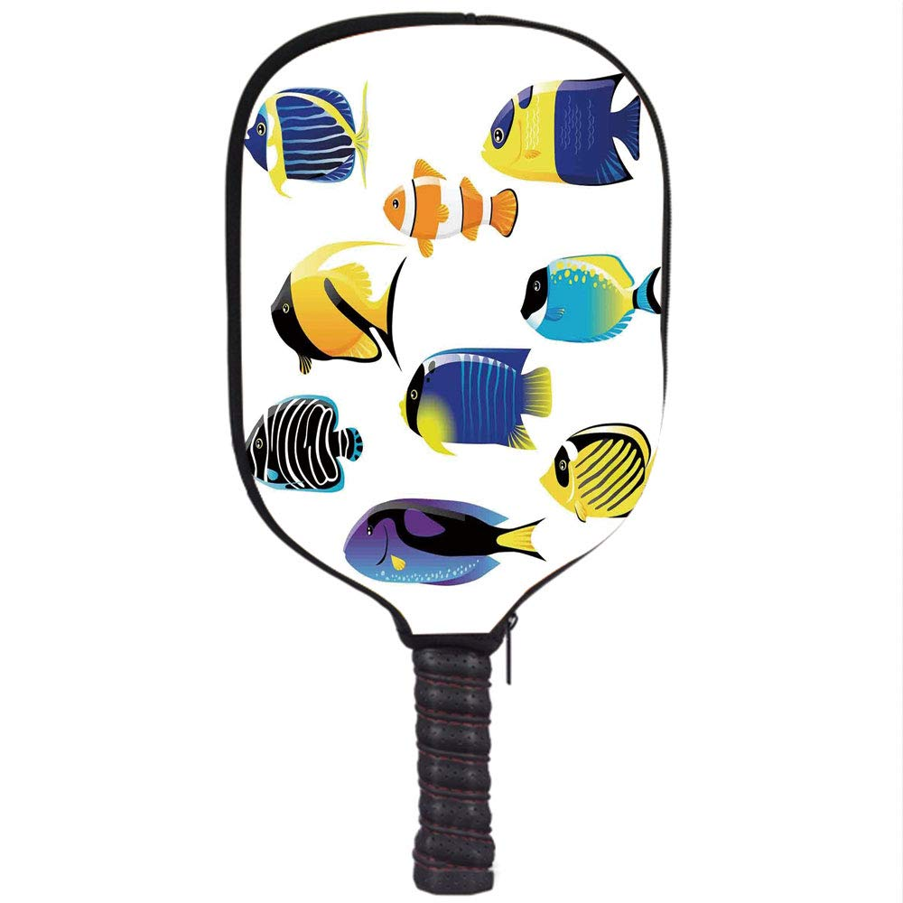 iPrint Neoprene Pickleball Paddle Racket Cover Case,Ocean Animal Decor,Types of Sea Creature with Atlantic Cod Bonito Palette Surgeonfish Image,Multi,Fit ...