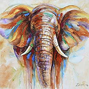 Elephant Wall Art Oil Painting on Canvas Print Elephant Artwork for Living Room (28 x 28 inch)