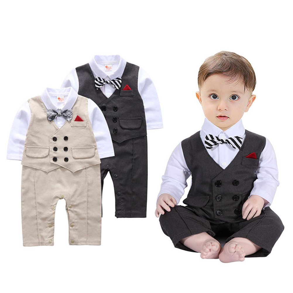 c7c644493c08 Amazon.com: Newborn Baby Boys Romper Gentleman Tuxedo Suit Infant Long  Sleeve Clothing Sets Outfits Jumpsuit Bow Tie Wedding Christening (90/9-12  M, ...