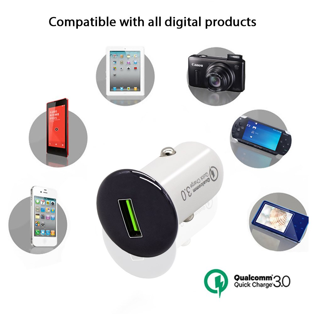 Single Port 3.0 Quick Charge Flush Mount USB 12v Car Charger with Black Denim Micro-USB Android Cable with Genuine Leather Cable Strap ProMerch Unlimited 4348717110