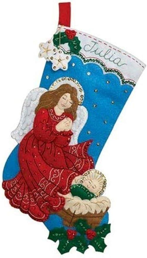 Bucilla 86972E Poinsettia Angel Felt Applique 28 Jumbo Stocking Kit