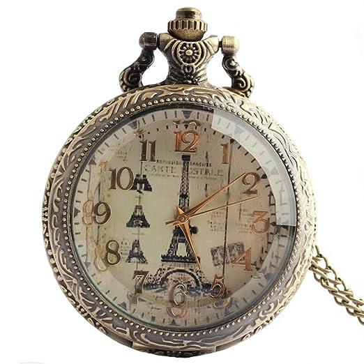 Joielavie - Reloj de Bolsillo con diseño de Torre Eiffel de París, números arábigos,