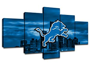 Detroit Lions NFL Team Logo Poster Wall Decor for Home Painting 5 Piece Canvas Prints Wall Art Picture Modern Decoration for Bedroom Poster with Frame Ready to Hang(60''Wx32''H)