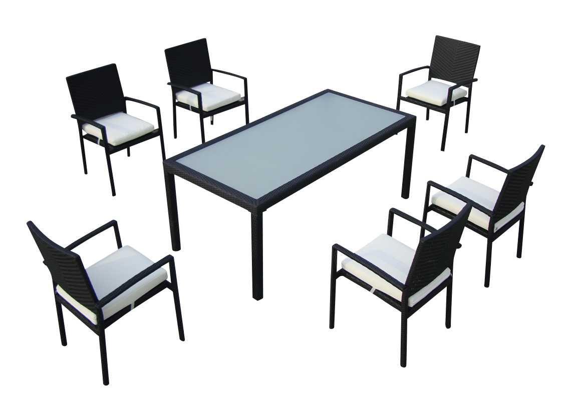 Baidani Gartenmöbel-Sets 10d00003.00001 Designer Rattan Essgruppe Horizon, 1 Tisch, 6 Stühle, schwarz
