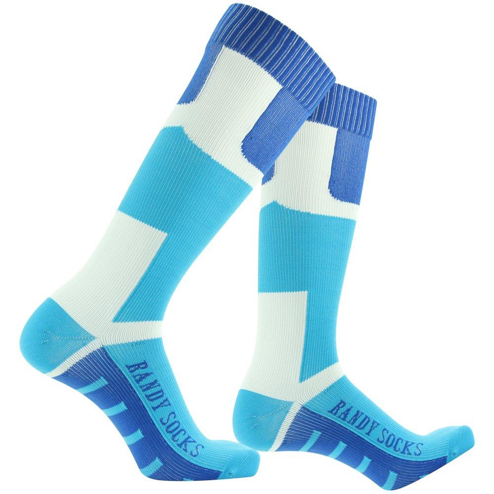 Waterproof Breathable Socks, [SGS Certified]RANDY SUN Men's Novelty Sports Socks Blue&White by RANDY SUN