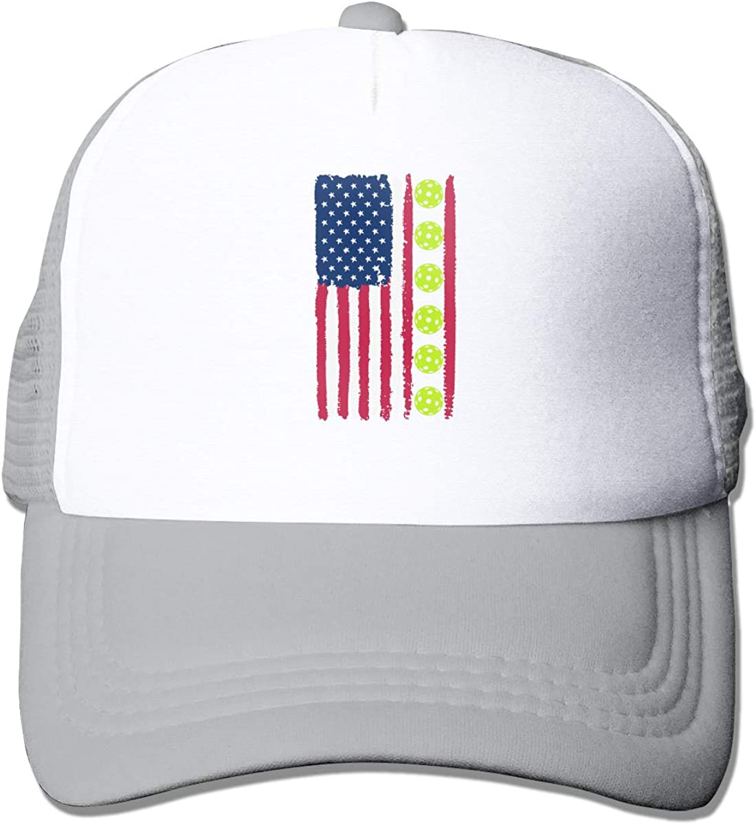 USA Flag Pickleball 2 Adult Mesh Cap Adjustable Baseball Cap Black