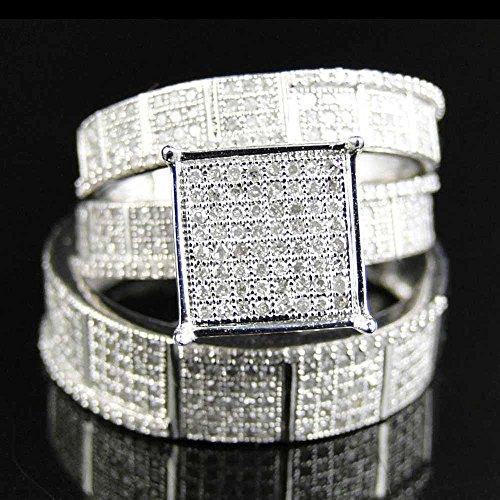 373 Trio (Silvercz Jewels Men's & Women's Wedding Trio Ring Set 1.25 Ct Sim Diamond In 14K White Gold Fn)