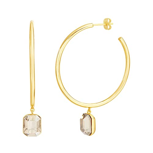 2c52b6238 Devin Rose Dangle Charm Hoop Earrings for Women In Yellow Gold Plated Brass  Made With Swarovski