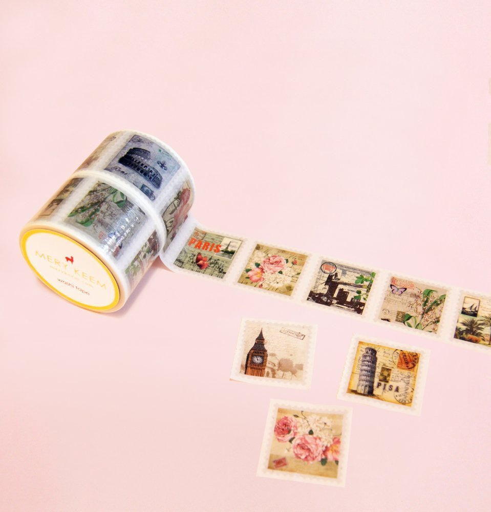 Vintage Stamps Perforated Washi Tape for Planning • Scrapbooking • Arts Crafts • Office • Party Supplies • Gift Wrapping • Colorful Decorative • Masking Tapes • DIY
