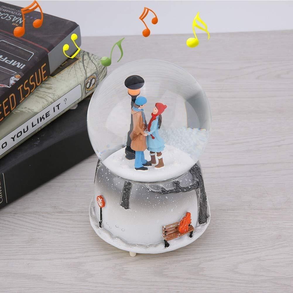 Neuheit Nachtlicht Musical Schneekugel Spieluhr Perfekt for Geburtstagsgeschenk Valentinstag Musikbox Schneekugel