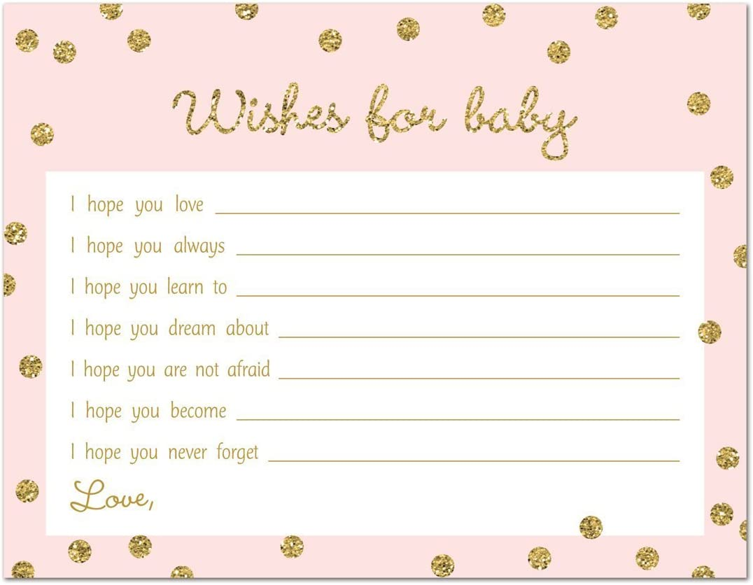 MyExpression.com 48 Cnt Gold Glitter Graphic Dots Baby Wish Cards