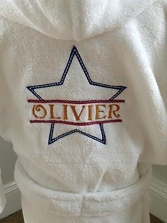 Dressing gown bathrobe fleece wrap personalised star design boys or girls 81b9707ba