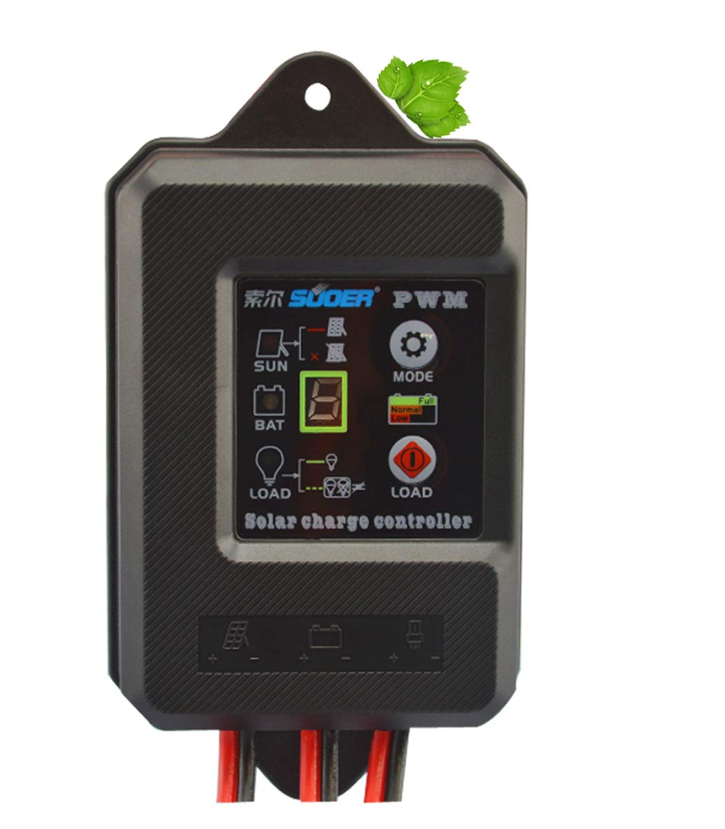 10A Waterproof Solar Charge Controller PWM Solar Panel Regulator for 12V/24V Solar Charging by CPTDCL (Image #1)