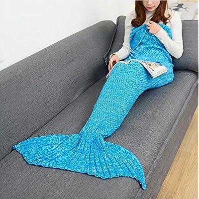 La Petite Sirène louvre sieste et queue de poisson climatisation couverture Couverture canapé et de la climatisation et de cadeaux créatifs ,180cmx90cm (adulte), Bleu