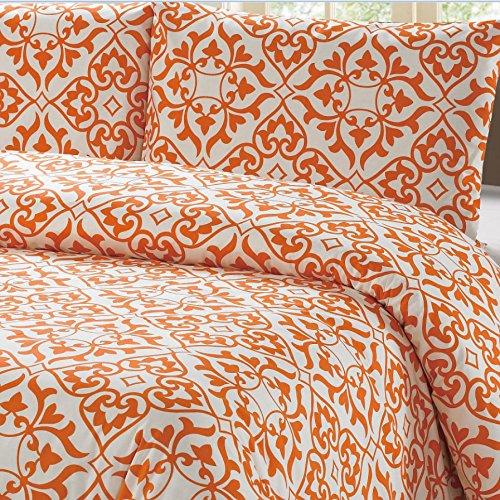 "100% Cotton Orange Damask Pattern Duvet Cover Set Full/queen on White Background ""Duvet Cover and 2 Pillowcases Included"""