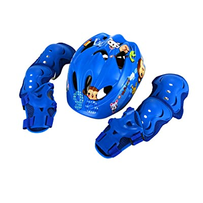 UNISTRENGH Adjustable Children's Bike Helmet Ultralight Comfortable Kid's Helmets with Protective Gear Set Knee/Elbow/Wrist Pads (Blue, Head Circumference: 19.29-21.26 Inch (49-54cm)) : Sports & Outdoors