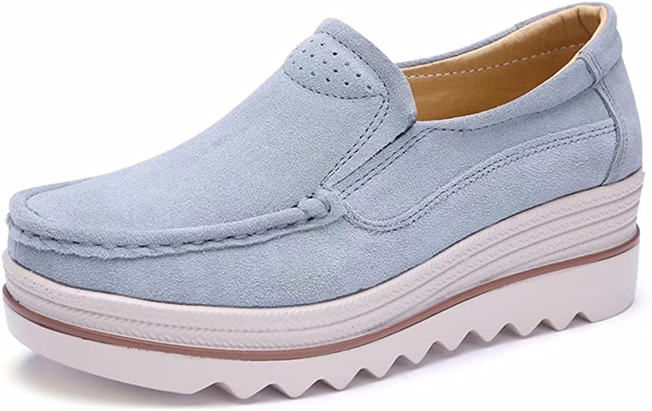 dc80582e38e Women Platform High Slip On Loafers Comfort Suede Leather Moccasins Wide  Low Top Wedge Shoes Sneakers
