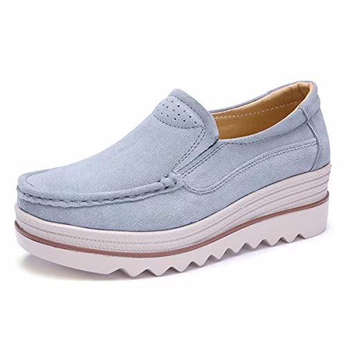 ddb5ad402f671 Women Platform High Slip On Loafers Comfort Suede Leather Moccasins Wide  Low Top Wedge Shoes Sneakers for Girls Women