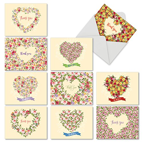Wreath Note (M6578TYB Heartfelt Thanks: 10 Assorted Blank Thank You Note Cards Featuring Floral Heart Shaped Wreaths and Sprays Filled with Fully Bloomed and Colorful Roses, w/White Envelopes.)
