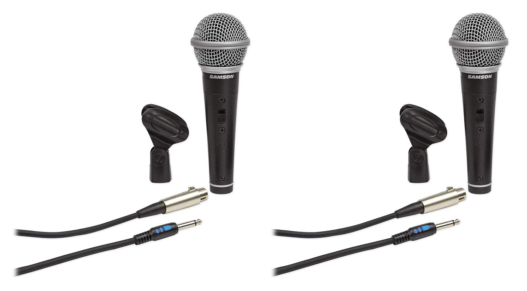 (2) Samson R21S Dynamic Handheld Microphones+Mic Clips+Cables+3.5mm adapters by Samson Technologies