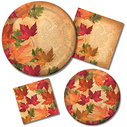 Creative Converting Autumn Elegance Holiday Tableware Set Paper Plates and Napkins for 16 Guests, (Elegance Green Plate)