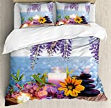 Spa Decor King Size Duvet Cover Set by Ambesonne, Massage Stones with Daisy and Wisteria with the Seabed Foliage Meditation, Decorative 3 Piece Bedding Set with 2 Pillow Shams