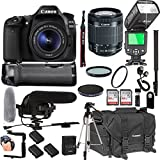 Canon EOS 80D With 18-55mm F/3.5-5.6 IS STM Lens + 128GB Memory + Canon Deluxe Camera Bag + Pro Battery Bundle + Power Grip + Microphone + TTL Speed Light + Pro Filters,(23pc Bundle)