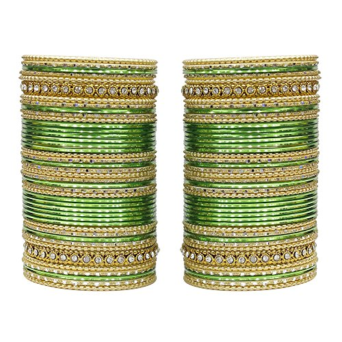 MUCH-MORE 86 Bangles Set of Multi Colour Amazing Collection of Bangles Set for Womens (Green, 2.6)
