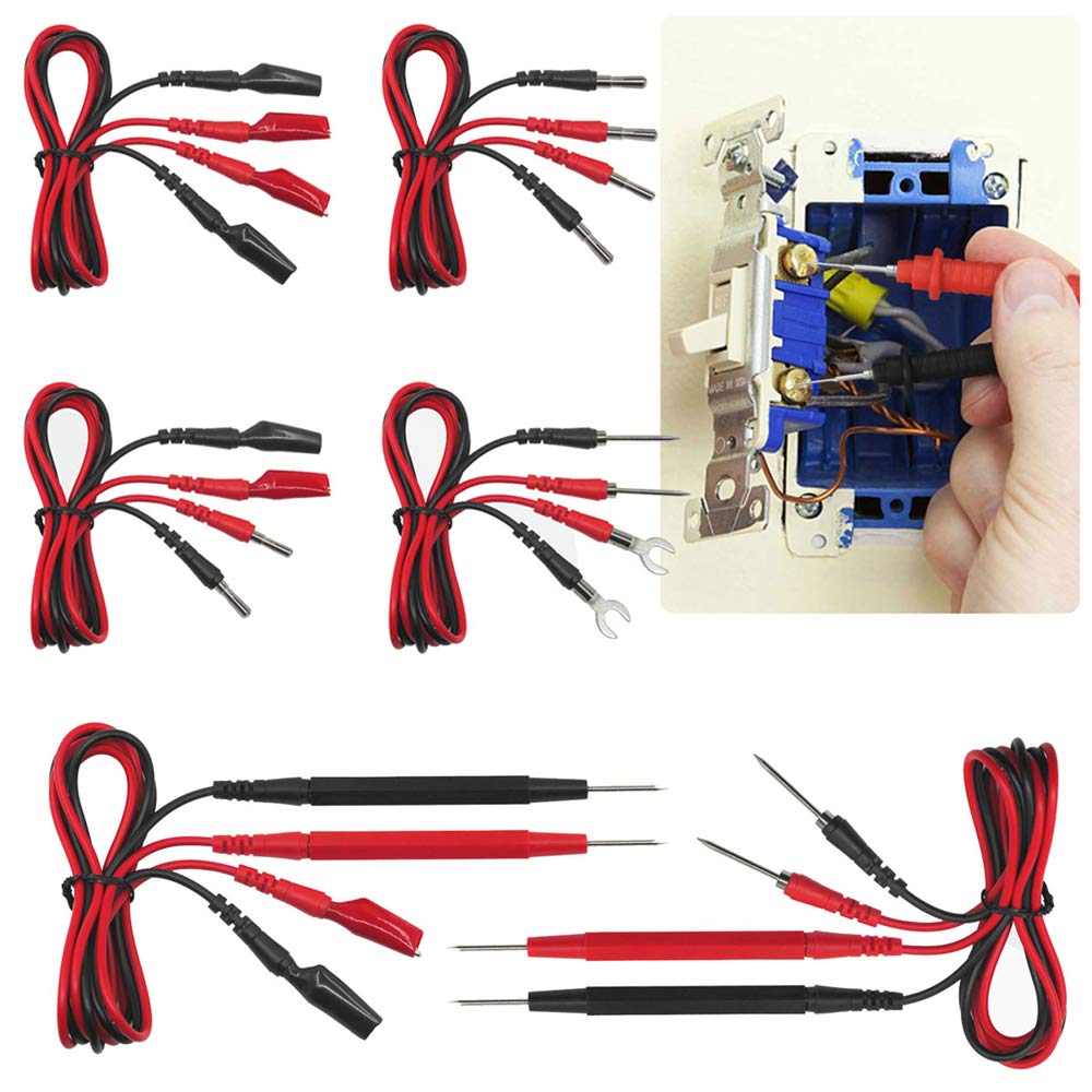 Doolland P1500 Test Leads Kit Cable Alligator Multifunction Digital Probe Silicone Test Tool Multimeter Tester Test Clips