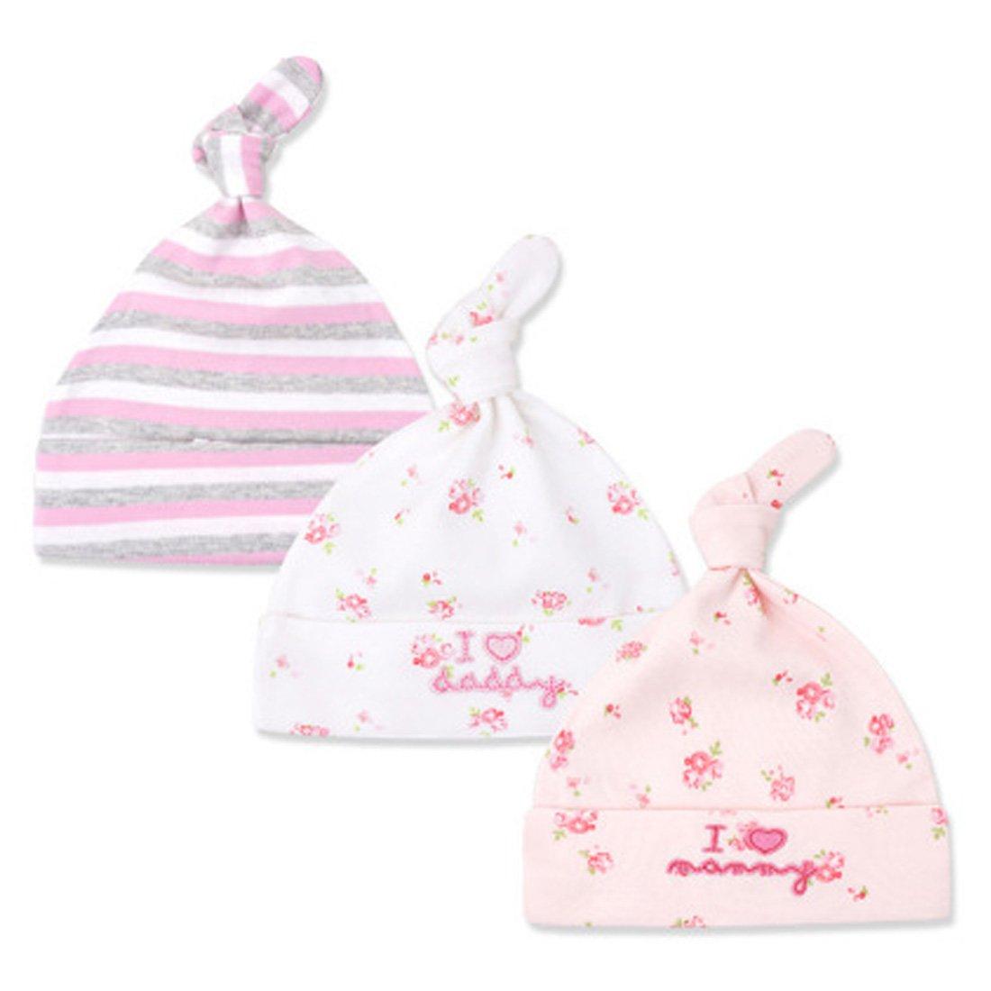 CuteOn 3 Pack Baby Beanie Knot Hat Newborn Boys Girls Cotton Adjustable Cap for Baby 0-6 Months MZ001-01