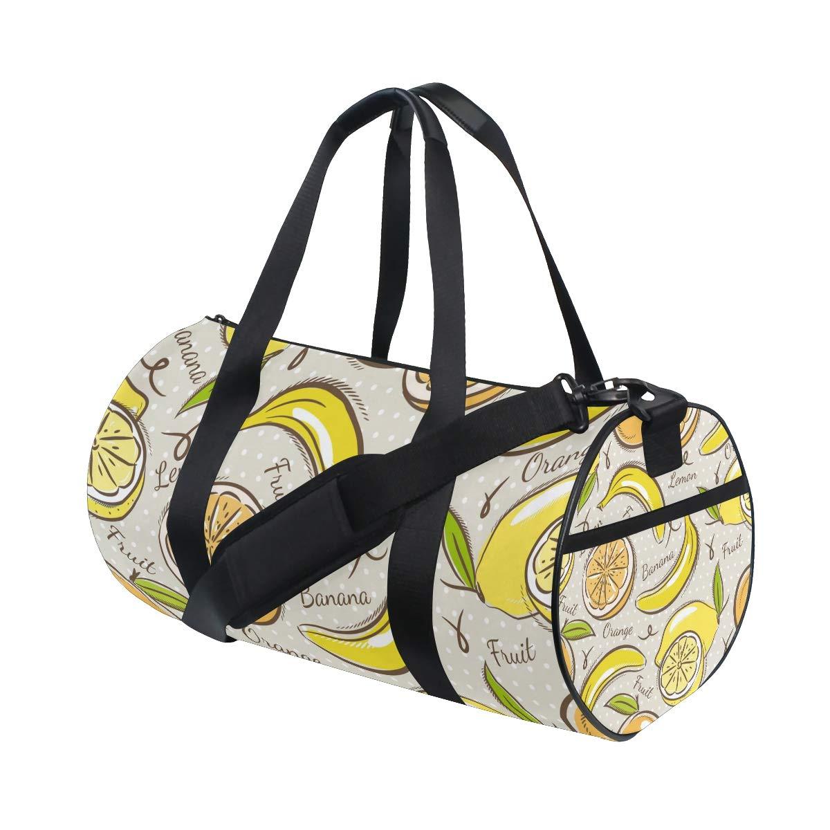 WIHVE Gym Duffel Bag Bananas Oranges And Lemons Sports Lightweight Canvas Travel Luggage Bag