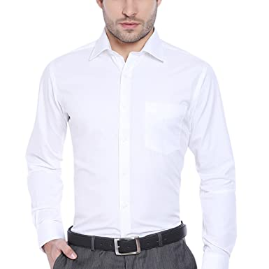J.Hampstead Men's Self Design 100% Cotton White Shirt: Amazon.in ...