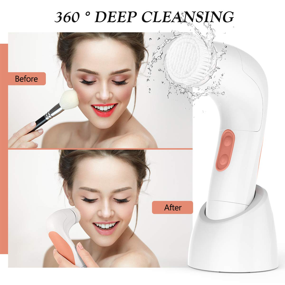 Facial Brush Waterproof Body Facial Cleansing Brush Spin Brush (Nude Pink)