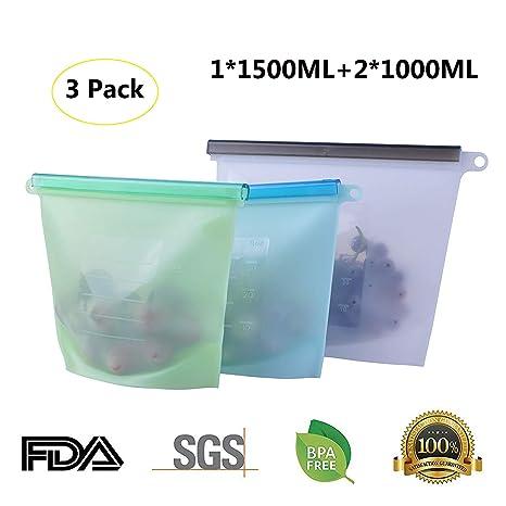 Bolsas de comida reutilizables, bolsas de silicona IDEAPRO, bolsas a prueba de fugas,