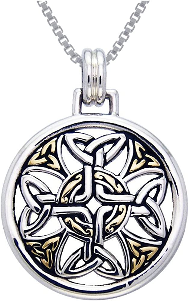 Jewelry Trends Sterling Silver and Gold-Plated Celtic Cross Pendant on 18 Inch Box Chain Necklace