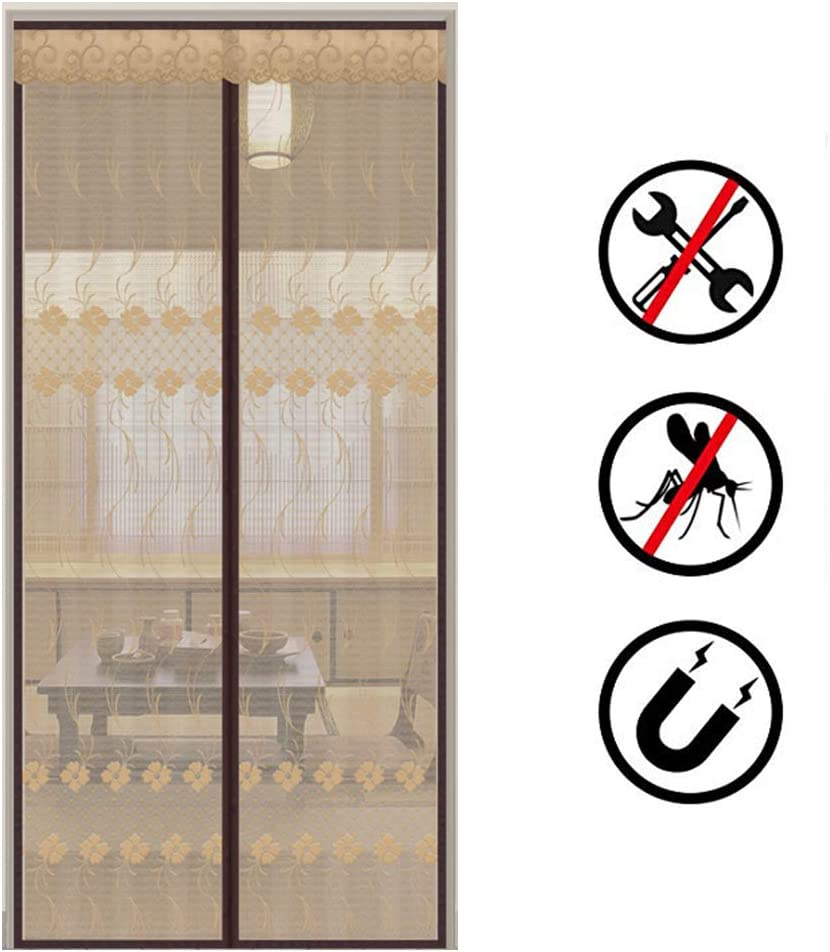 LUYION Mampara magnética eléctrica con mosquitero, Puerta Doble Exterior Cifrado de Servicio Pesado Cinta de Lazo de Gancho de Marco Cortina de Malla café Mosquitera Sello de Arriba a Abajo,110X195cm: Amazon.es: Hogar