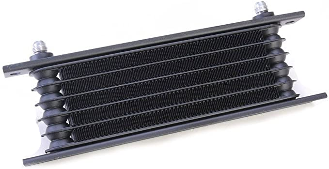 """Image ofAutobahn88 Aceite universal automática transmisión ATF fluido enfriador, 6 hileras, núcleo compacto tamaño 10 x 3,4 x 1,4""""(260x85x35mm),-6AN adaptadores, negro"""