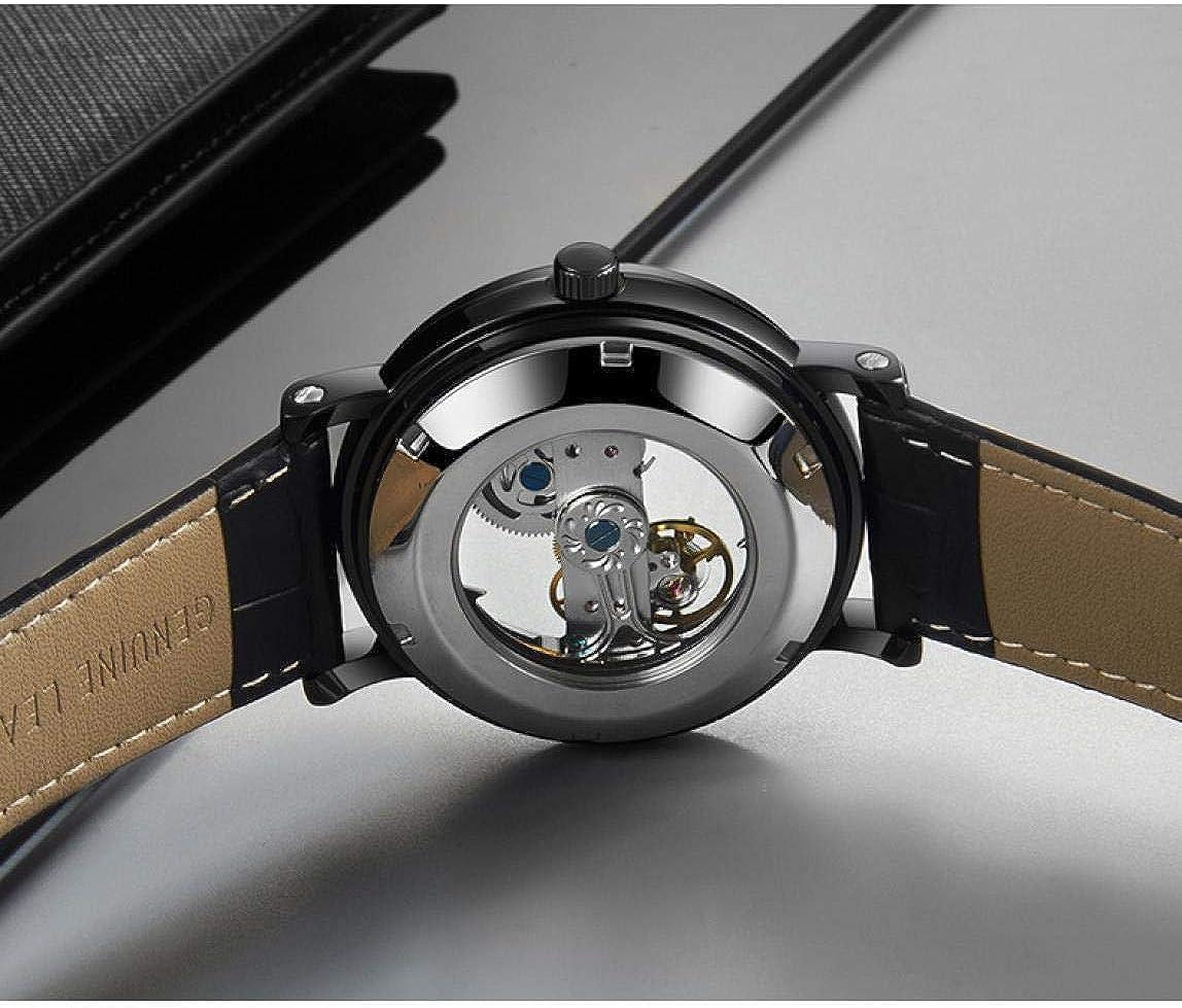 Montres Bracelet,Montre Mécanique Automatique Entièrement Transparente À La Mode Golden Brown Belt